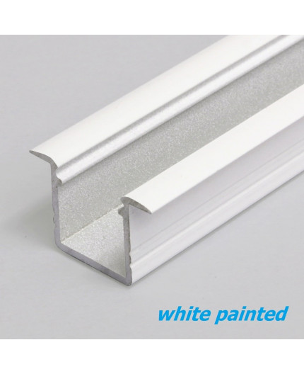 1m / 1000mm recessed T1 aluminium LED profile, 12mm x 11.2mm, set with milky cover