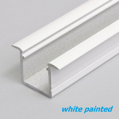 1m / 1000mm recessed T1 aluminium LED profile (painted, white), 12mm x 11.2mm, set with milky cover
