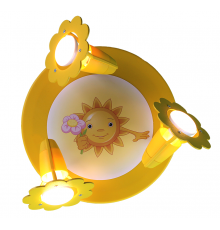 "Handmade Ceiling SpotLight,  Yellow, Rings / ""Sun with flower"" , Children Light"