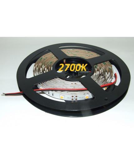 12VDC LED tape, warm white 2700K, 7.2W/m, 30LED/m, IP20, 5m, SMD5050