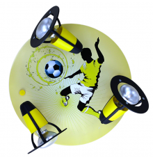Handmade Ceiling SpotLight, black / yellow, Soccer , Children Lighting