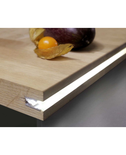 1m / 1000mm IN1 recessed LED profile (anodized, silver), set with milky cover
