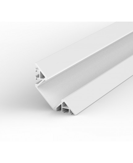 EW3 white 2m / 2000mm Flush 45° Surfaced Corner LED aluminium extrusion with high quality diffuser