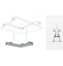 1m / 1000mm C2 ceiling LED aluminium extrusion (anodized / silver), set with diffuser