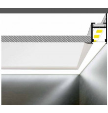 2m aluminium LED profile C1 for plaster boards, set with milky diffuser