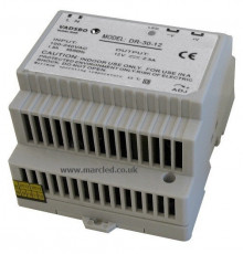 30W 12VDC DR30/12 Switching Power Supply for DIN Rail Mounting, Vadsbo