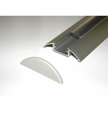 P4 LED profile 1m / 1000mm surface extrusion, anodized aluminium, silver, plus diffuser