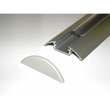 P4 1m / 1000mm surface extrusion, anodized aluminium, silver, plus diffuser