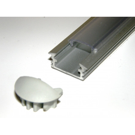P1 1m / 1000mm recessed extrusion, anodized aluminium, silver, with diffuser