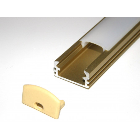 P2 1m / 1000mm anodized gold LED aluminium profile / extrusion / channel with diffuser and end caps (option)