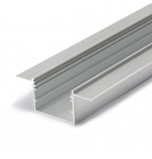 1m Alu-Ceiling LED profile C4 (raw alu.) for plaster boards, set with milky diffuser