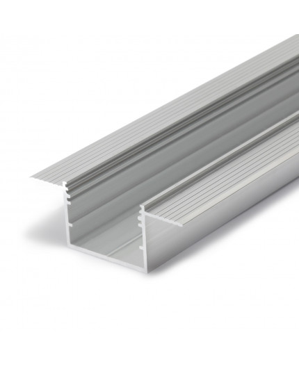 2m Alu-Ceiling LED profile C3 (raw alu.) for plaster boards, set with opal cover
