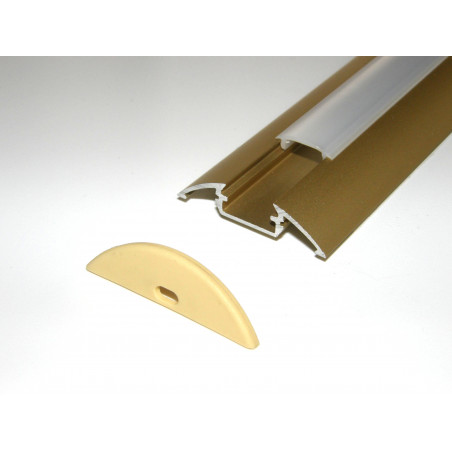 P4 1m / 1000mm surface extrusion, anodized aluminium, gold, with diffuser