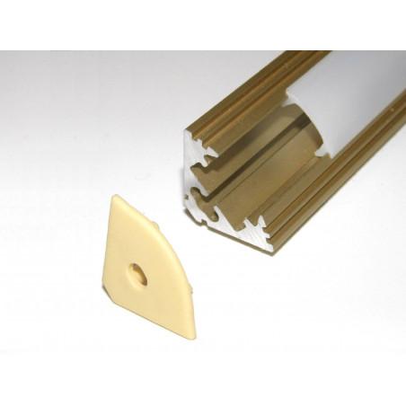 P3 1m / 1000m corner 45 extrusion, anodized aluminium, gold, with diffuser