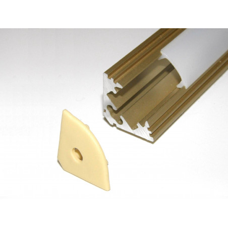 P3 1m / 1000mm anodized gold LED aluminium profile / extrusion / channel with diffuser and end caps (option)