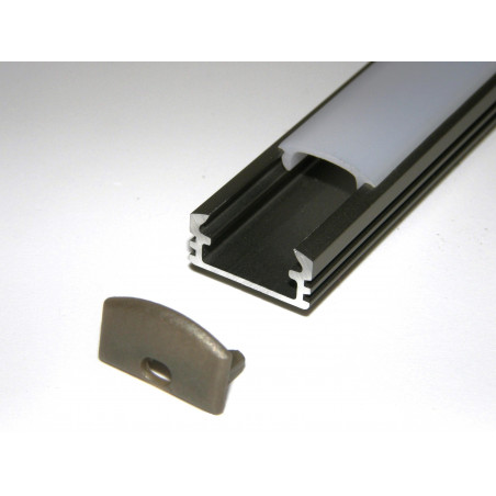 P2 1m / 1000mm surface extrusion, anodized aluminium, inox, plus diffuser