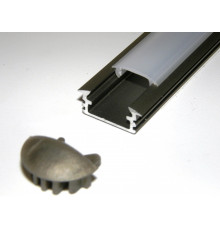 P1 LED profile, 1m / 1000mm recessed extrusion, anodized aluminium, inox, plus diffuser