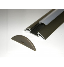 P4 LED profile 1m / 1000mm surface extrusion, anodized aluminium, silver, plus diffuser