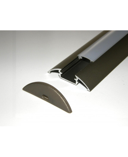 P4 LED profile 1m / 1000mm surface extrusion, anodized aluminium, inox, with diffuser