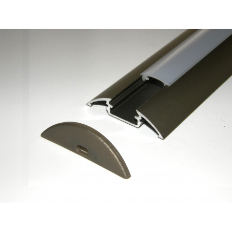 P4 1m / 1000mm anodized inox LED aluminium profile / extrusion / channel with diffuser and end caps (option)