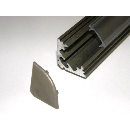 P3 1m / 1000mm anodized inox LED aluminium profile / extrusion / channel with diffuser and end caps (option)