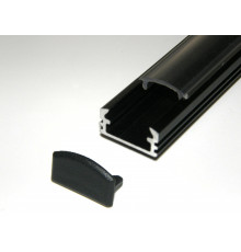 P2 LED profile 1m / 1000mm surface extrusion, anodized aluminium, black, plus diffuser
