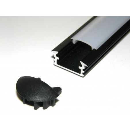 P1 1m / 1000mm recessed extrusion, anodized aluminium, black, with diffuser