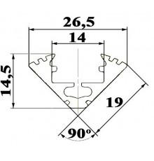 P3 LED profile 1m / 1000m corner 45 extrusion, anodized aluminium, black, with diffuser