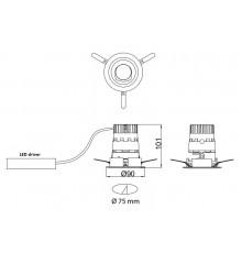 LED downlight, GECO MINI 90 10W / 800 lm, IP20