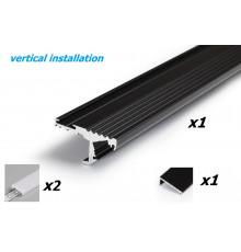 Aluminium LED profile S1 STEP edge, black anodized, 1000mm / 1m