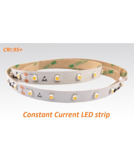 24VDC constant current LED tape, warm white 2700K, CRI95+, 7.2W/m, 60 LED/m, 5m, SMD3528