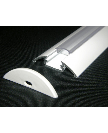 P4 surface LED profile, 1m, painted aluminium, white, with diffuser