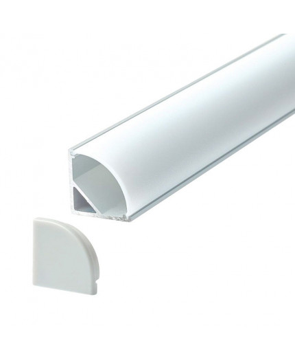 A3 silver 1m / 1000mm corner LED aluminium extrusion with milky diffuser