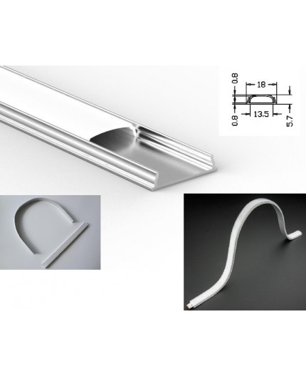 1m / 1000mm O2 bendable / flexible aluminium LED profile, easy to bend (no tooling required)
