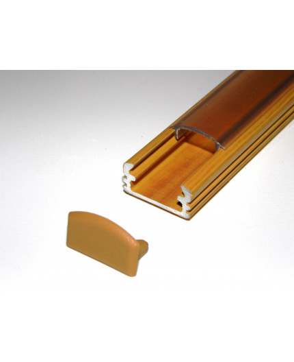 P2 surface LED aluminium profile, 1m, wood pine effect, with diffuser