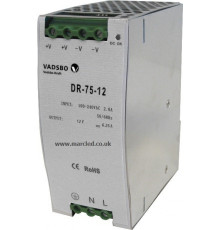 75W 12VDC DR75/12 Switching Power Supply for DIN Rail Mounting, Vadsbo