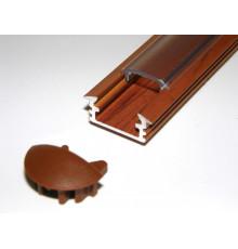 P1 LED profile, 1m / 1000mm recessed aluminium extrusion, wood palisander effect, plus diffuser