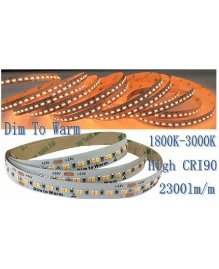 24VDC DIM to WARM LED Strip,  3000K-1800K, CRI90+, SMD2835, IP20, 5m (130W, 960LEDs)
