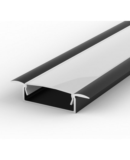 2m recessed LED aluminium profile, black, extrusion EW1 30mm x 9mm with high quality diffuser