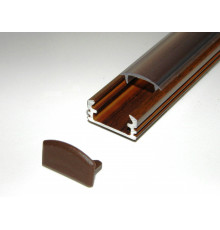 P2 LED profile 1m / 1000mm surface aluminium extrusion, wood wenge effect, with diffuser
