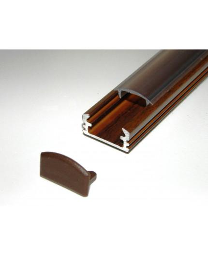 P2 surface LED aluminium profile, 1m, wood wenge effect, with diffuser