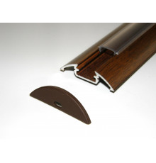 P4 LED profile 1m / 1000mm surface aluminium extrusion, wood wenge effect, with diffuser