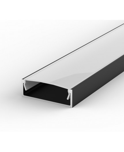 EW2 black 1m / 1000mm LED Aluminium high U-profile 30mm x 10mm with high quality diffuser