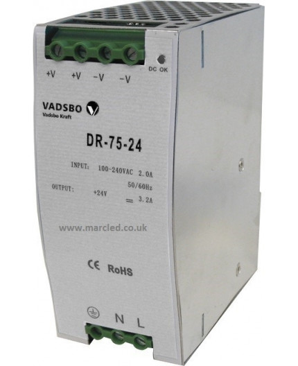 75W 24VDC DR75/24 Switching Power Supply for DIN Rail Mounting, Vadsbo