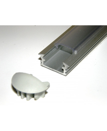 P1 LED profile, 1m / 1000mm recessed extrusion, raw aluminium, with diffuser