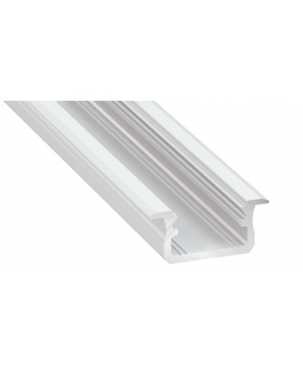 2m LED aluminium profile K1, painted, white, set with diffuser