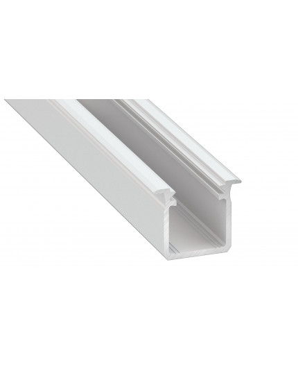1m white recessed LED aluminium profile KH1 18/17mm, set with diffuser and end caps