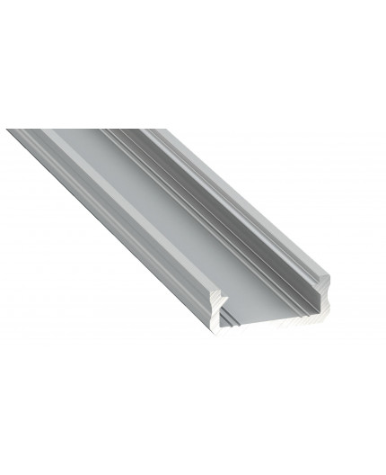 1m / 1000mm micro LED aluminum profile KL2, anodized, silver, set with diffuser