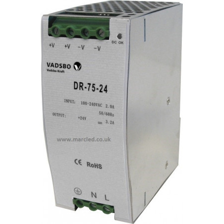 120W 12VDC DR120/12 Switching Power Supply for DIN Rail Mounting, Vadsbo