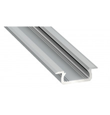 1m LED aluminium profile KL1, anodized, silver, set with diffuser